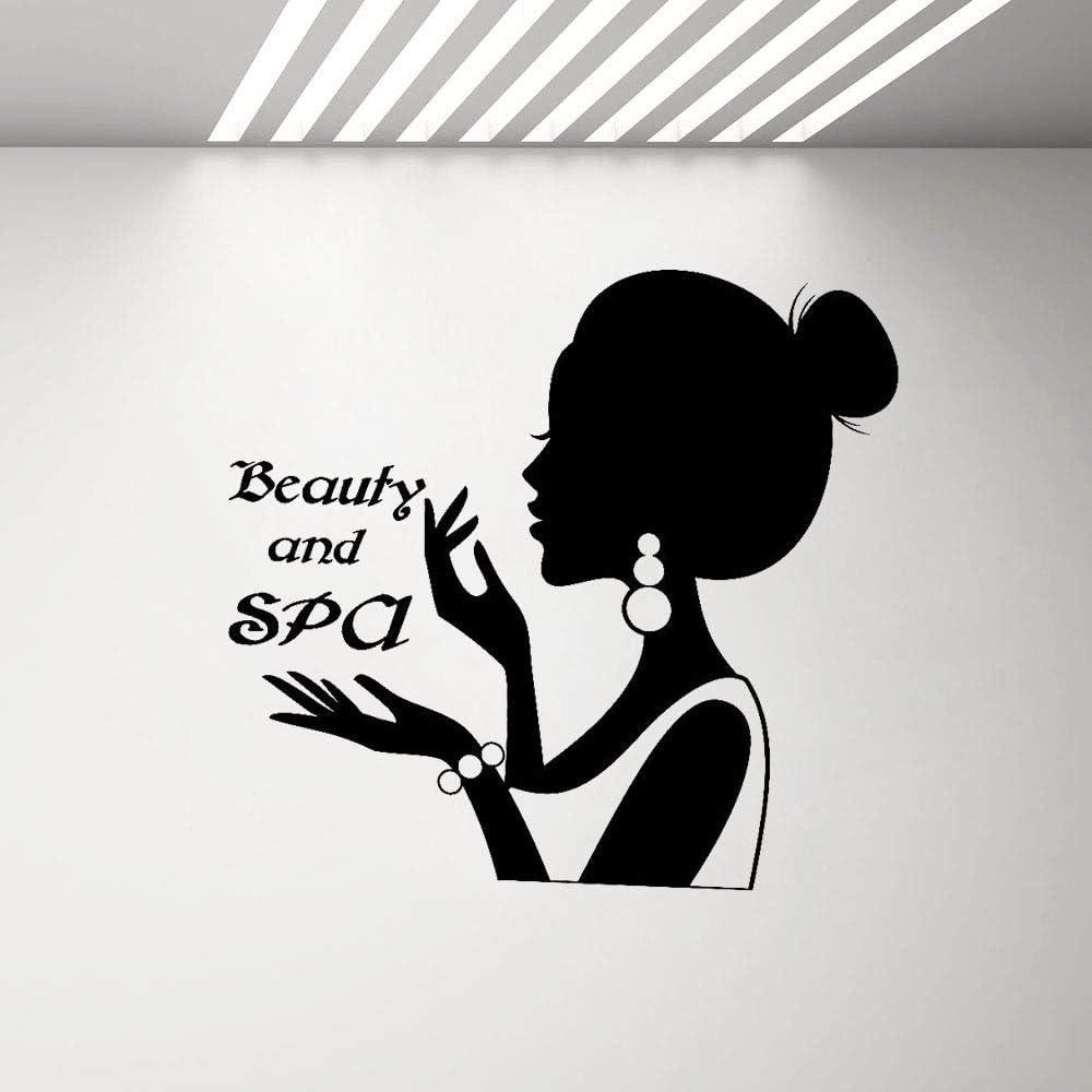 woyaofal Belleza y SPA Logotipo Letrero Pegatinas de Pared Niñas Mujer Silueta Pegatinas de Vinilo para el Cabello ...