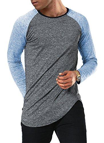 Moomphya Men's Long Sleeve Raglan Jersey Shirt Hipster Hip Hop Basic Swag Curved Hem Baseball T Shirt (Medium, Blue - Tee Long Sleeve Raglan