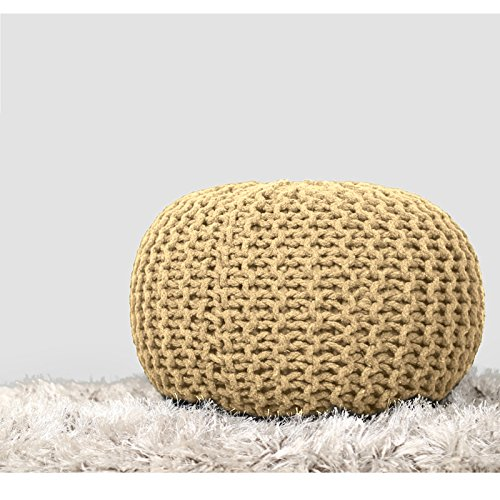 RAJRANG BRINGING RAJASTHAN TO YOU Cotton Braided Cord Stuffed Ottoman - Hand Knit Modern Floor Pouf Round Footstool Home Decorative Small Space Patio Seating - Ivory - 19