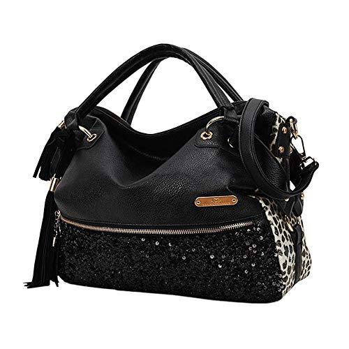Leopard Print Hobo Bag - Segater Women's Leopard Print Black Purse Handbag Hobo Style Sequin PU Leather Shoulder Bag