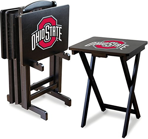 Imperial Officially Licensed NCAA Merchandise: Foldable Wood TV Tray Table Set with Stand, Ohio State Buckeyes