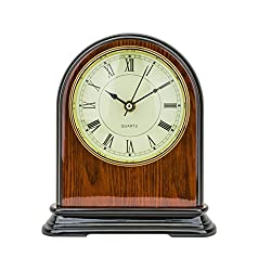 Mantel Clock 9.0 H x 8.0 L x 3.5 W Quartz, Decorative Shelf Clock, Fireplace Wood Antique Vintage Clocks, Battery Operated (Battery NOT INCLUDED)