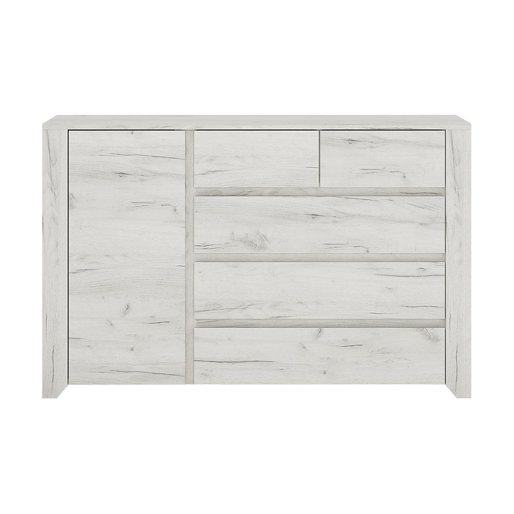 Furniture To Go Angel 1 Door 2 Plus 3 Drawer Chest, Wood, White Oak Wojcik 4214162