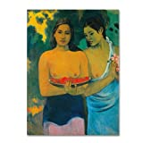 This ready to hang, gallery-wrapped art piece features two Tahitian women. Paul Gauguin was a leading Post-Impressionist painter. His bold experimentation with coloring led directly to the Synthetist style of modern art while his expression of the in...