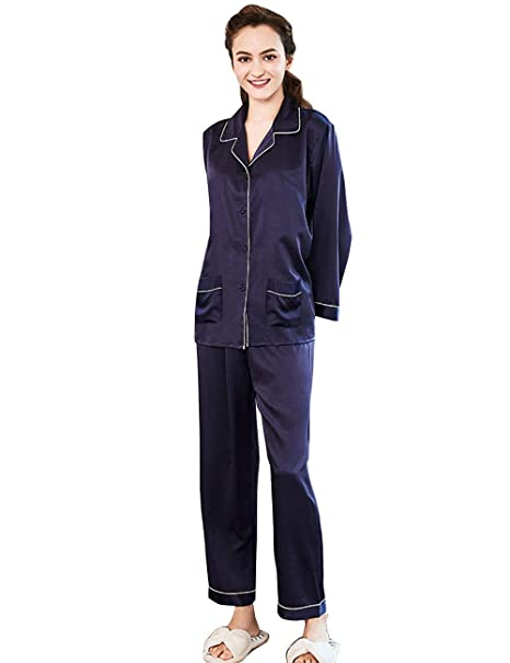 Pijamas Mujer Mujer Primavera Otoño Satín Tops Camisones Pantalon 2 Pedazos Elegantes Fashionista Moda Classic Simplemente Albornoz Manga Larga V-Cuello Un ...