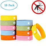 Mestron Mosquito Repellent Bracelet Band 10pcs, 100% Natural Plant-Based Oil, Non-Toxic Travel Insect Repellent, Safe Deet-Free Band, Soft Fiber Material Kids & Adults, Keeps Insects & Bugs Away