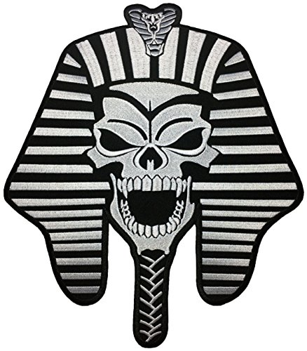 [Large Size] Papapatch Pharaoh Skull Skeleton Ghost Mummy Egypt God King Biker Punk Ride Motorcycle Costume Jacket DIY Embroidered Sew Iron on Patch (IRON-PHARAOH-SKULL-LARGE) -
