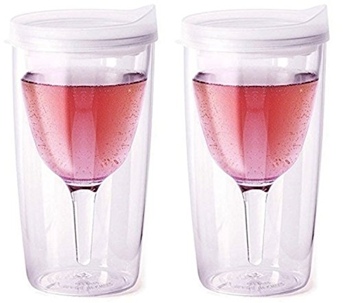 (Vino2Go Double Wall Acrylic Tumbler with Double Frost Lids, 10 oz, Pack of 2)