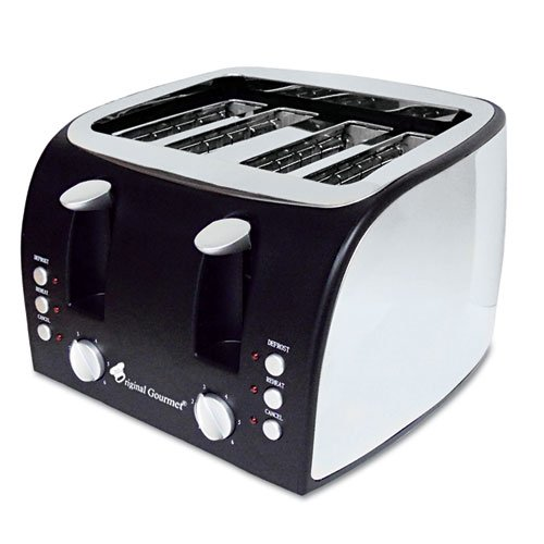 Coffee Pro OG8166 4-Slice Multi-Function Toaster with Adjustable Slot Width, Black/Stainless Steel