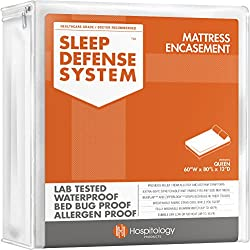 """HOSPITOLOGY PRODUCTS Sleep Defense System - Waterproof/Bed Bug/Dust Mites - PREMIUM Zippered Mattress Encasement & Hypoallergenic Protector - 60-Inch by 80-Inch, Queen - Standard 12"""""""
