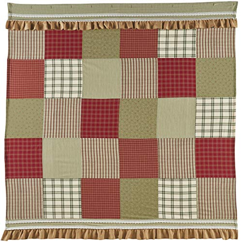 VHC Brands Classic Country Farmhouse Bath-Prairie Winds Red Shower Curtain, 72 x - Curtains Patchwork Shabby