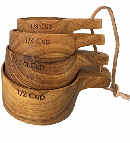 UPC 751109705739, Green Outfitters Sustainable Teak Wood Measuring Cups, Set of 4, Handcarved