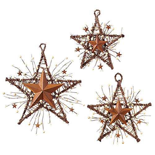 Collections Etc Rustic Country Primitive Berry Hanging Stars