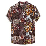 Mens Vintage Ethnic Printed Turn Down Collar Short Sleeve Loose Shirts Blouse Athletic Garments Casual Clothes Coffee