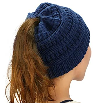 9658a43867e Dafunna Women Knit Hat Stretch Cable Warm Knit Beanie Hat for Messy  Ponytail Bun Winter (