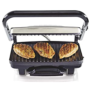 Hamilton Beach Electric Panini Press Grill with Locking Lid, Opens 180 Degrees for any Sandwich Thickness (25460A) Nonstick 8″ X 10″ Grids Chrome Finish,Medium