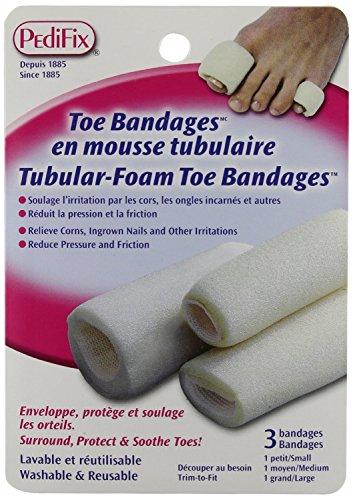 Pedifix Tubular-Foam Toe Bandages P337 - 3 Pack, Assorted Sizes