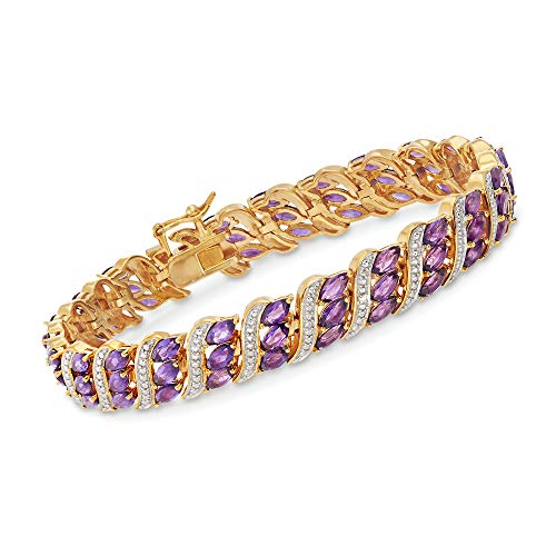 Ross-Simons 8.25 ct. t.w. Amethyst Bracelet With Diamond Accent in 18kt Gold Over Sterling -