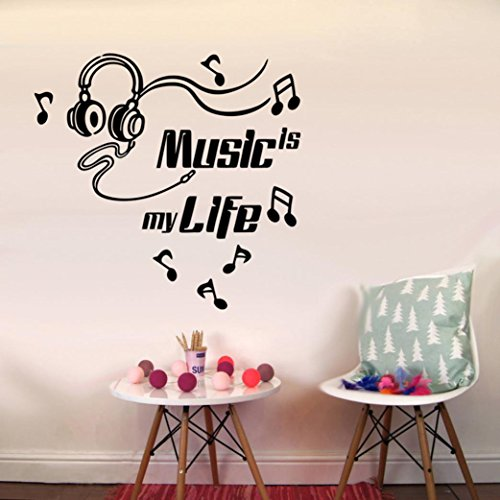 Yezijin Music Is My Life Glasses Removable Art Vinyl Mural Home Room Decor Wall Stickers - Glass Door Letter Board