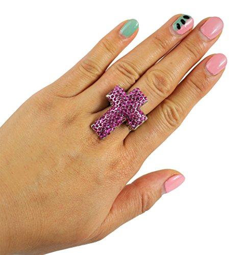 Pink Cross Stretch Ring Rhinestones Oversize Silver (Rhinestone Silver Tone Cross)