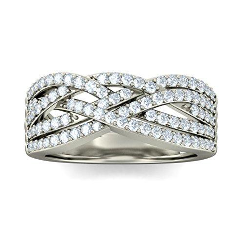 14K Or blanc, 0,61carat Diamant Taille ronde (IJ | SI) Cocktail en diamant