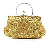 HOTER Wowens Antique Floral Seed/Bead/Sequin Leaf Soft Clutch Evening Bag Wedding Party Clutch Handbag
