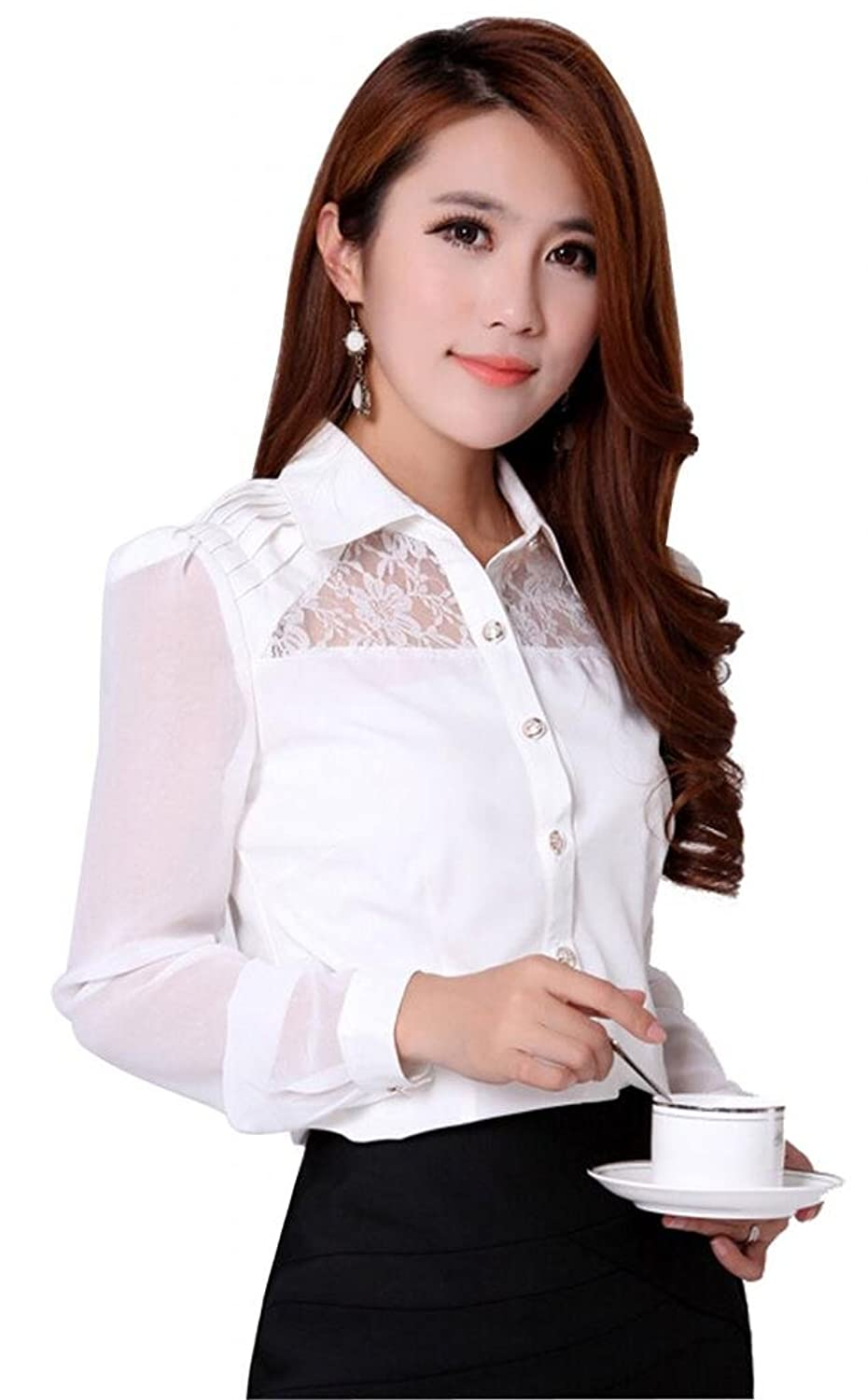 Somo Lite Women's Chiffon Lace Fitted Stand Collar OL Blouse Long Sleeve Shirt