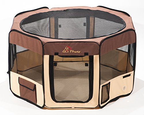 "Pawer 45""×24"" 8-Panel Foldable Pet Playpen, Brown+Beige, Personalize Embroidery Extra Fabric Piece Available, for Cat/Dog/Puppy, 600D Oxford Cloth Portable Indoor & Outdoor Kennel with Carry Bag"