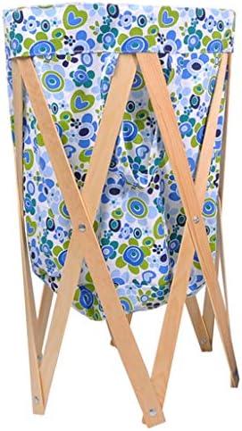 ダーティーバンパーバスルーム折りたたみ式洗濯バスケットバスルーム家庭用ファブリック収納汚れた衣類バスケットソリッドウッドブラケット洗える 玄関収納 (Color : Blue, Size : 40*60*70cm/16*24*28inch)