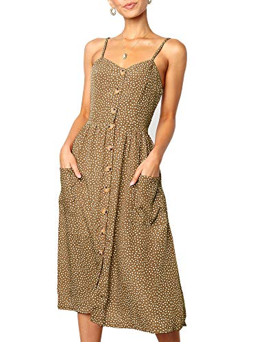 (Imysty Womens Polka Dot Spaghetti Strap Button Down Sleeveless Swing Midi Dress with Pockets)