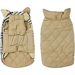 Scheppend Pet Dog Plaid Jacket Waterproof Warm Winter Coat for Dogs Reversible Vest with Velcro, Beige Extra Large