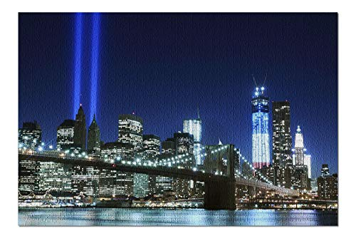 New York City, New York - Brooklyn Bridge with Twin Tower Lights - Photography A-92017 (20x30 Premium 1000 Piece Jigsaw Puzzle, Made in USA!)