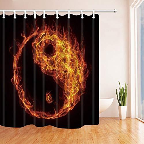 Rrfwq Burnning Fire Like Taiji Chinese Symbol Shower Curtains 70.8 X 70.8 inches Polyester Fabric Fantastic Decorations Bath Hooks
