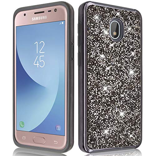 Samsung Galaxy J7 2018/ J7 Refine/ J7 V 2nd Gen/ J7 Star/ J7 Aero Glitter Bling Diamond Rubber Case Hard Silicone Shockproof Heavy Duty Protective for Girls Women (Black)