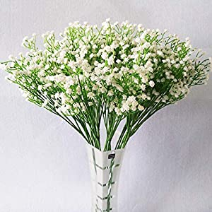 YSBER 10Pcs Baby Breath/Gypsophila Artificial Fake Silk Plants Wedding Party Decoration Real Touch Flowers DIY Home Garden(White) 59