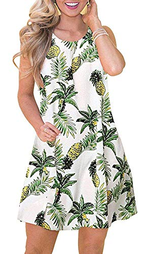 Tshirt Dresses for Women Summer Beach Boho Sleeveless Floral Sundress Pockets Swing Casual Loose Cover Up(Pineapple,XL)
