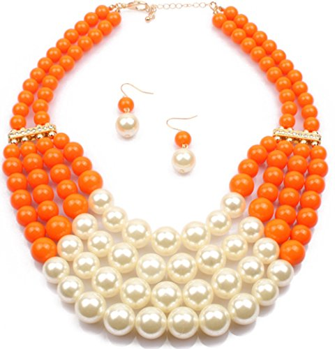 Shineland Elegant Handmade Multilayer Faux Pearl Bead Cluster Collar Bib Choker Necklace And Earrings Suit (Orange)