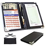 Waiter Book Server Wallet and Apron - Waiter Wallet Organizer - Zipper Guest Check Holder - Professional Waiter Waitress Server Book with Free Waist Apron and Bonus One Tip Chart