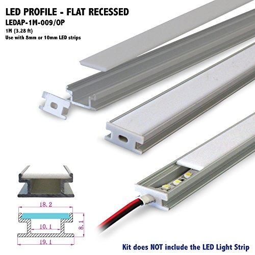 flat recess profile aluminum profile with opal matte diffuser for led strip light applications. Black Bedroom Furniture Sets. Home Design Ideas