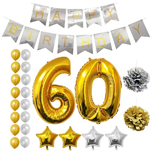 60th Happy Birthday Party Balloons, Supplies & Decorations by Belle Vous - 24 Pc Set - Large 60 Years Foil Balloon 12