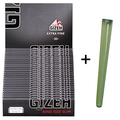 25 Heftchen GIZEH BLACK King Size Slim mit Magnetverschluß + Joint-Hülle