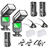 Neewer NW565EX I-TTL Slave Flash Speedlite Kit for Nikon DSLR Camera,include:(2)TTL Flash+(1)2.4G Wireless Trigger(1 Transmitter,2 Receiver)+(2)Soft&Hard Diffuser+C1/C3 Cables+(2)Lens Cap Holder