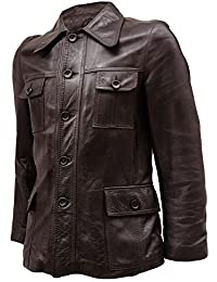 LJS Front Button Closure Men's Brown Leather Jacket
