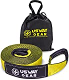 USWAY GEAR 3' x 30' Tow Strap - 30.000 LBS (15 US TON) Rated Capacity Heavy Duty Vehicle Tow Strap with Reinforced Loops + Protective Sleeves + Storage Bag | Emergency Towing Rope for Recovery