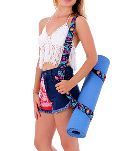 "One Tribe Apparel ""Floral Ibiza"" Yoga Mat Strap Carrying Sling Adjustable Yoga Mat Holder"