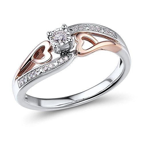 Diamond Promise Ring in 10k Rose Gold and Sterling Silver 1/10 cttw - Ring Size -