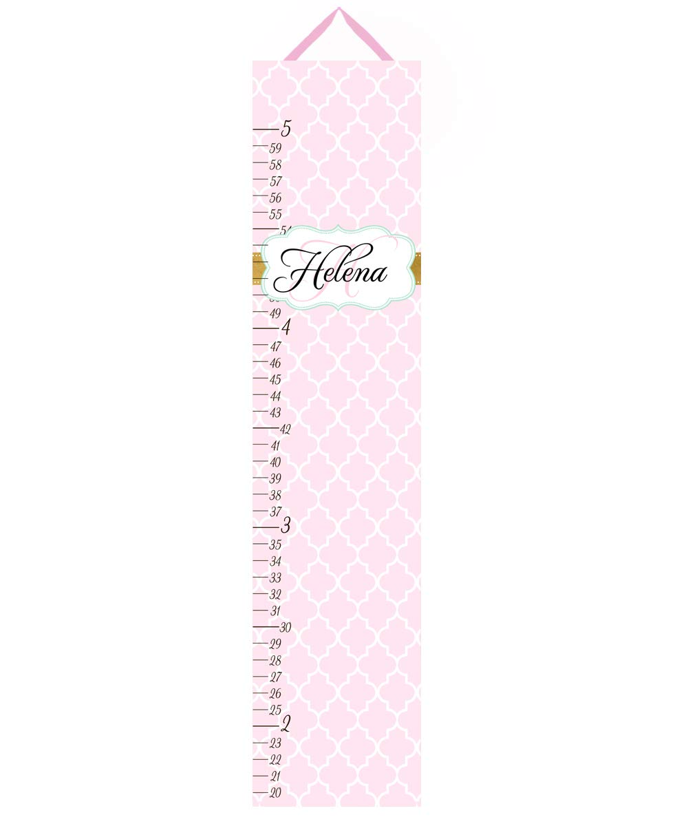 Toad and Lily Kids Canvas Growth Chart Soft Pink Gold Girls Bedroom Baby Nursery Wall Art Growth Chart GC0310