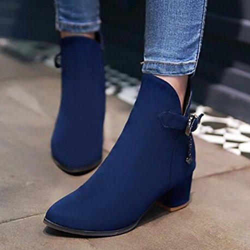 Ciondolo Alla Caviglia Con Fibbia Alla Moda Smerigliato Da Donna Easemax Punta A Metà Stivaletti Con Tacco Medio Con Cerniera Sul Tallone Blu