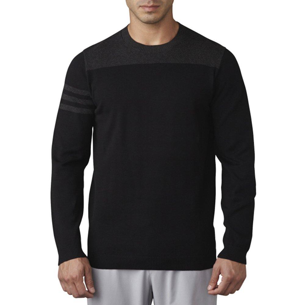 adidas Golf Men's Adi 3 Stripe Crewneck Sweater, Black, X-Large