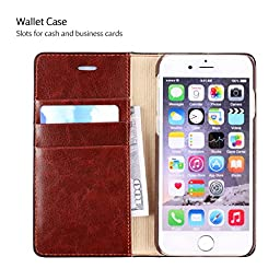 Belemay Slim Flip Book Style Cowhide Leather Case Folio Wallet Cover with Kickstand Function, Credit Card Slots and Cash Pocket for iPhone 6 / iPhone 6s - Coffee Brown
